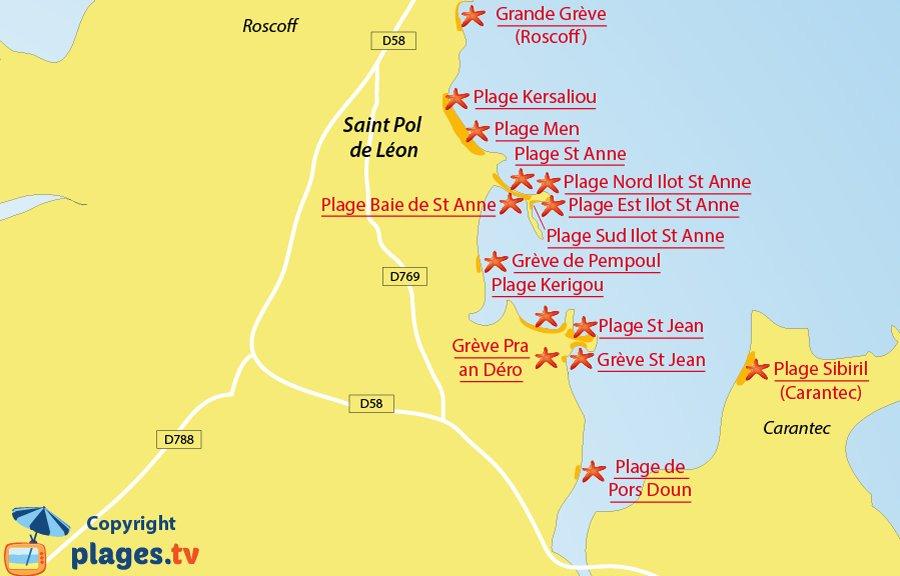 Plan des plages de Saint Pol de Léon en Bretagne