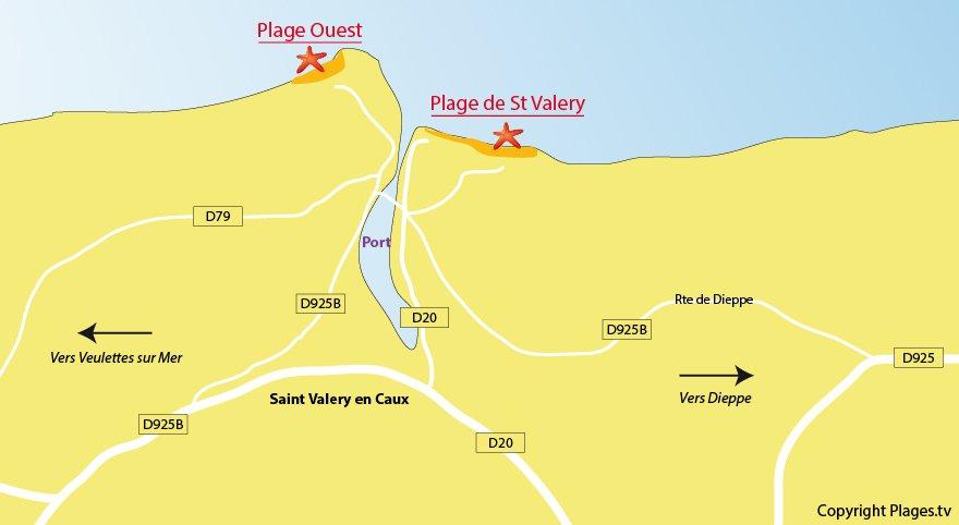 Plan des plages de Saint Valery en Caux