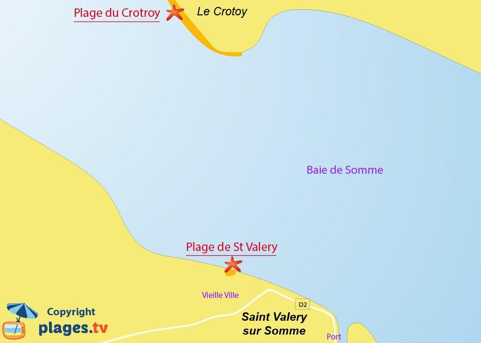 Plan des plages de Saint Valery sur Somme
