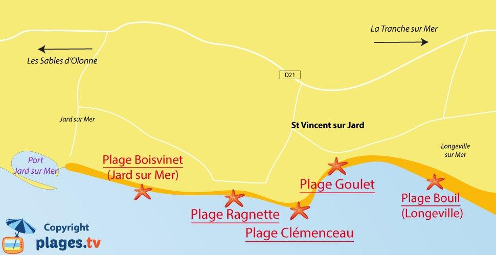 Plan des plages de St Vincent sur Jard