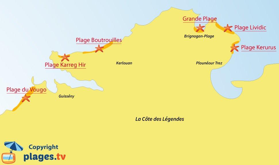 Plan des plages et des stations balnéaires de la Côte des Légendes en Bretagne