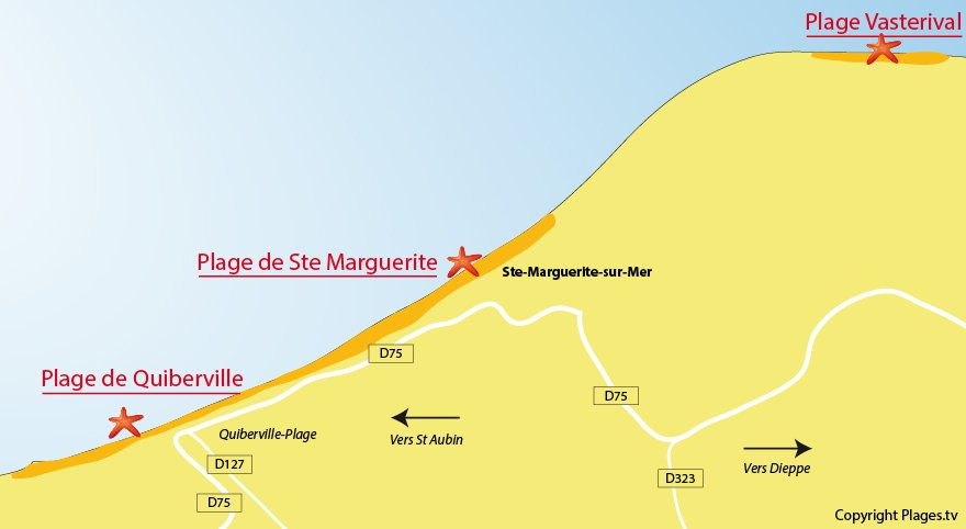 Plan des plages de Ste Marguerite sur Mer