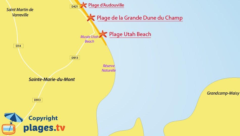 Plan des plages de Sainte Marie du Mont dans la Manche