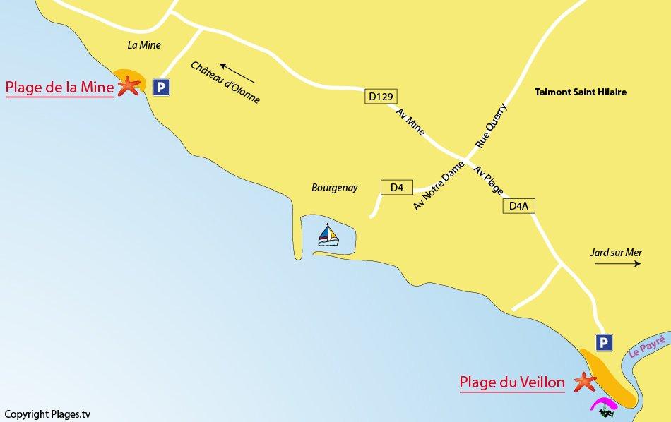 Plan des plages de Talmont sur Hilaire en Vendée