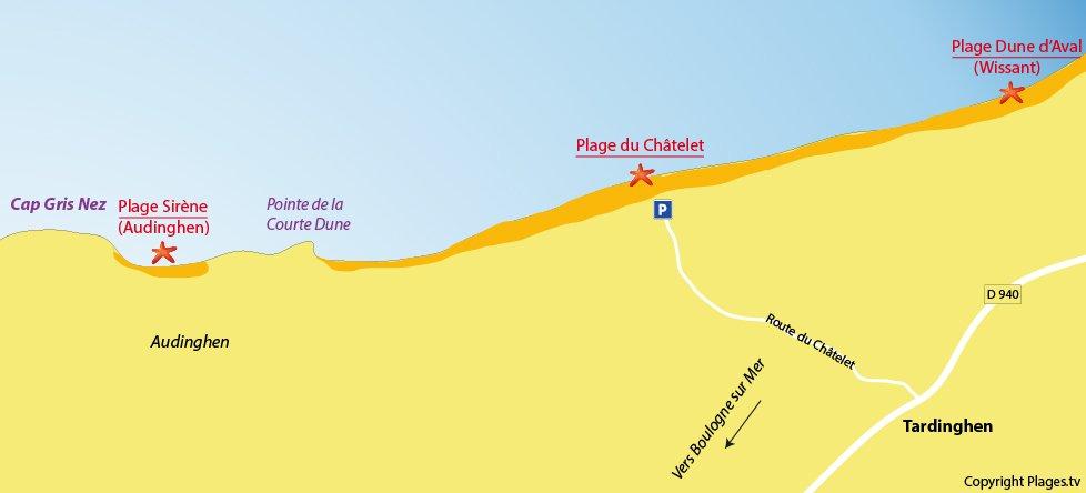 Plan des plages à Tardinghen dans le Nord