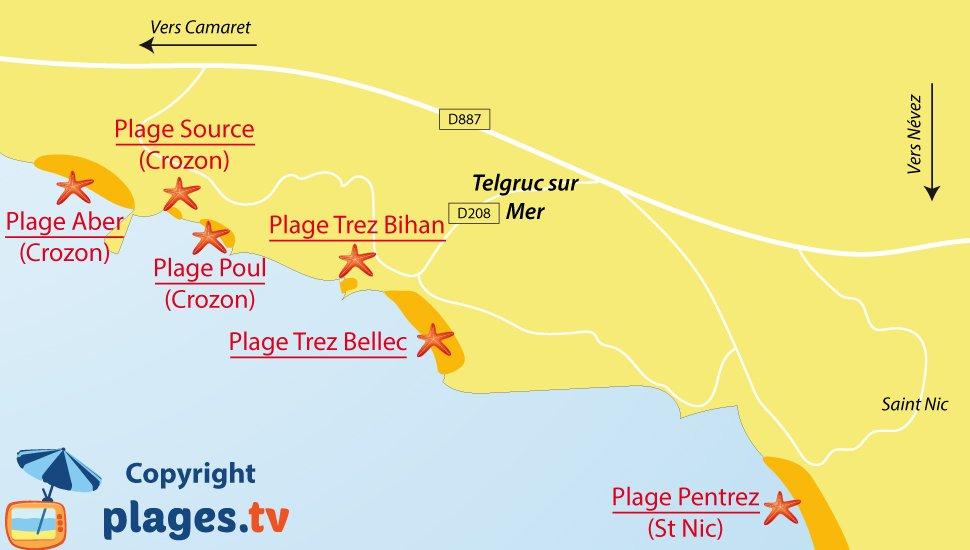 Plan des plages de Telgruc sur Mer en Bretagne