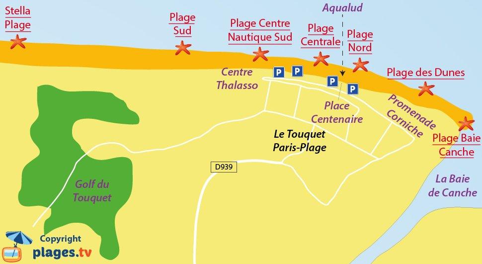 Plan des plages du Touquet