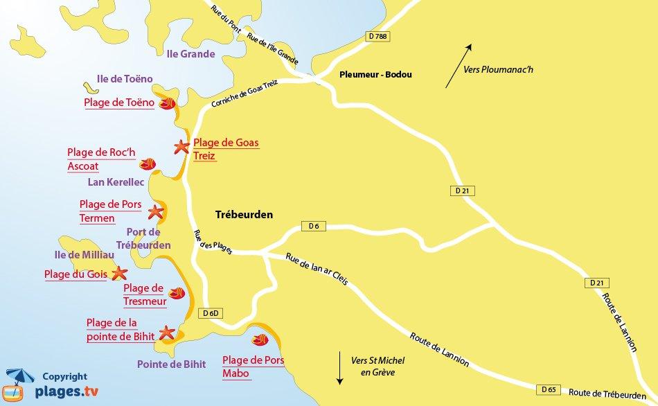 Plan des plages de Trébeurden en Bretagne