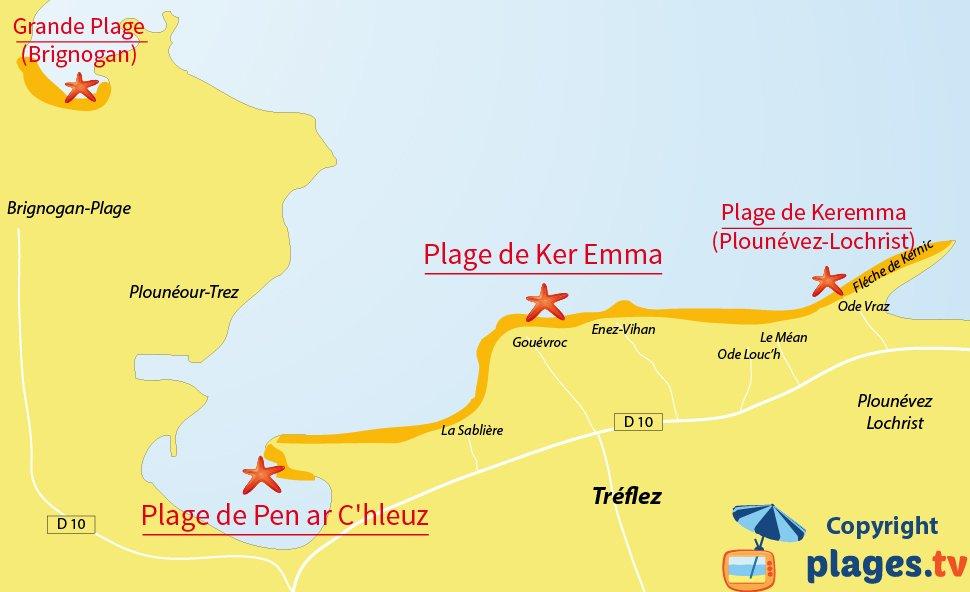 Plan des plages de Treflez - Dunes de Ker Emma - Bretagne