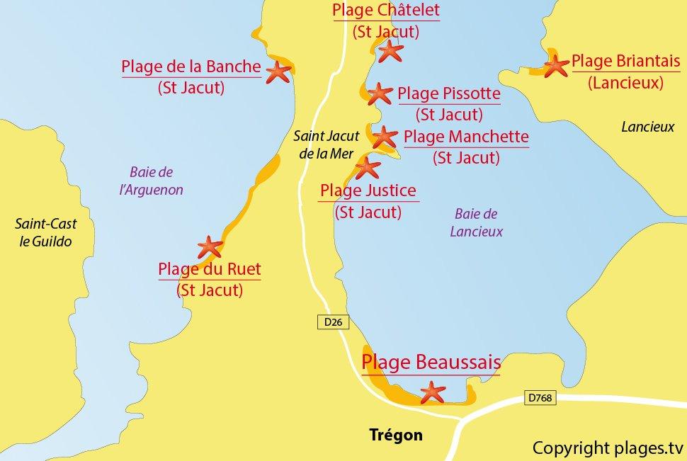 Plan des plages de Trégon (22)