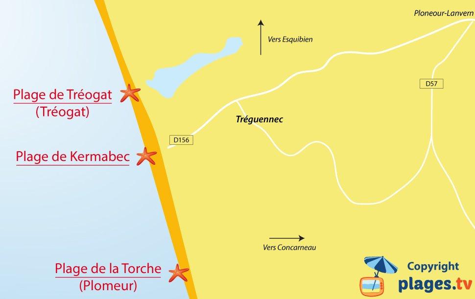 Plan des plages de Tréguennec en Bretagne