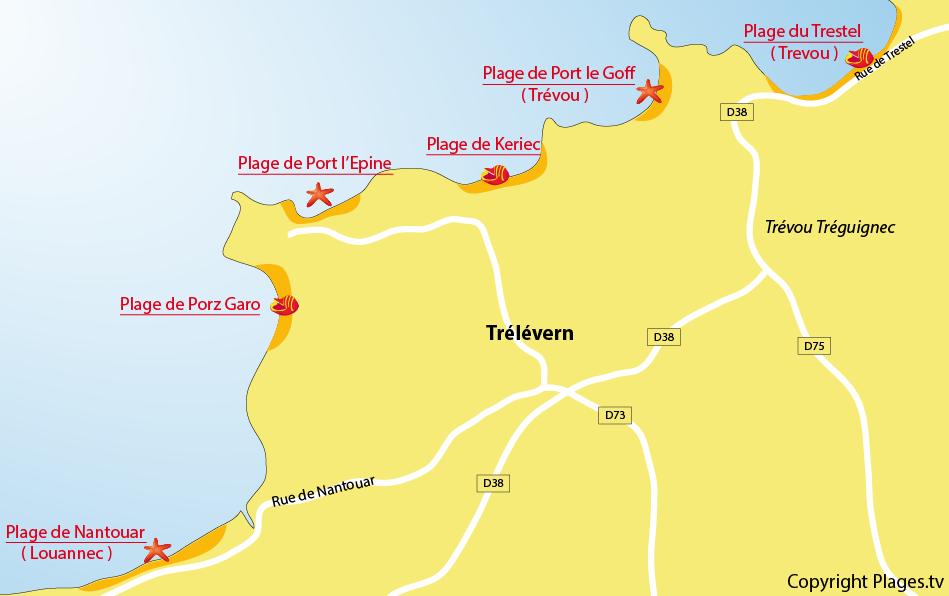 Plan des plages de Trélévern en Bretagne