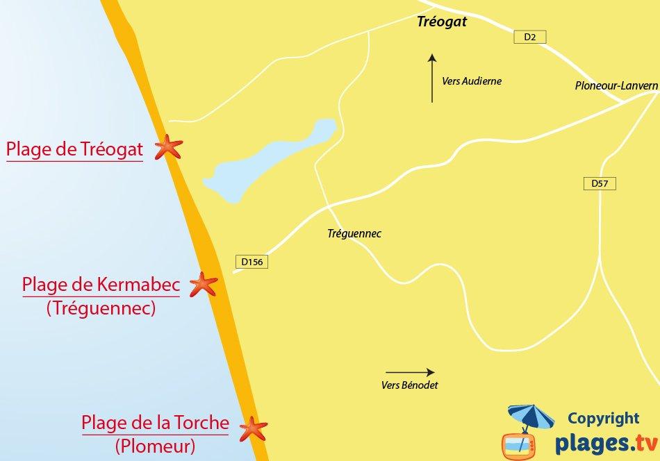 Plan des plages de Tréogat en Bretagne