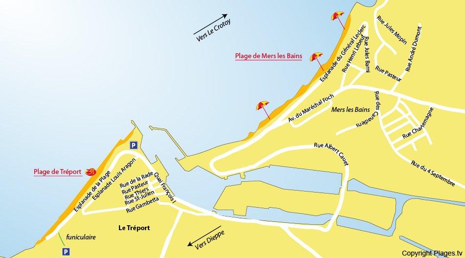 Plan des plages du Tréport (Normandie)