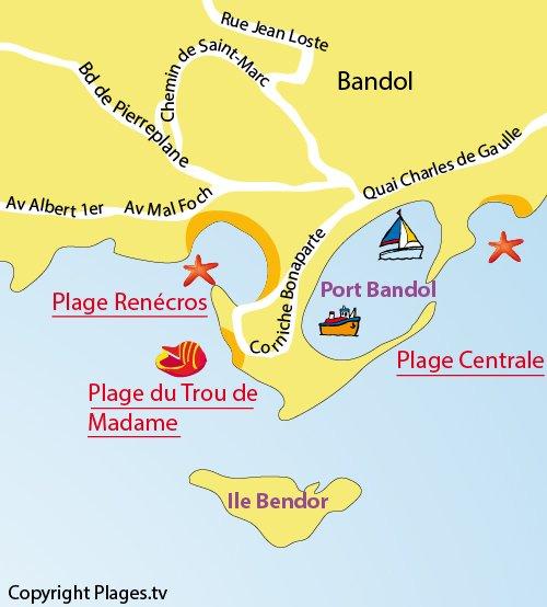 Carte de la plage du Trou de Madame de Bandol