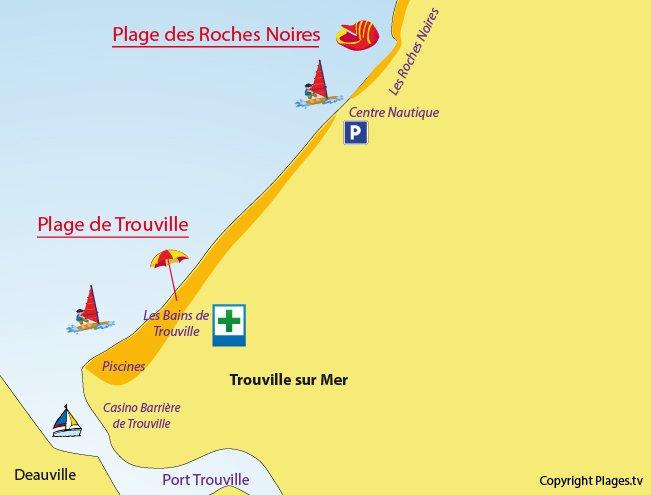 Plan des plages de Trouville