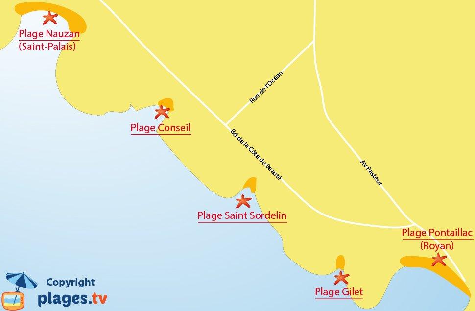 Plan des plages de Vaux sur Mer