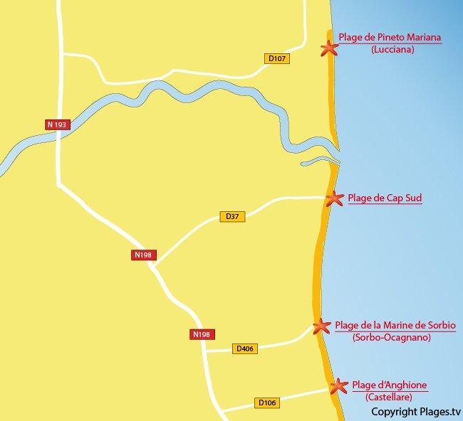 Carte des plages de Venzolasca en Corse