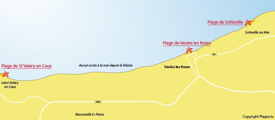 Plan des plages de Veules les Roses (Normandie - 76)