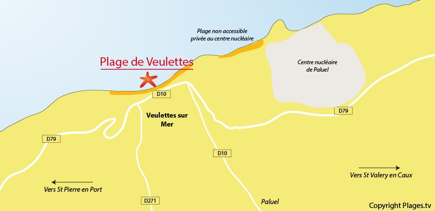 Plan des plages de Veulettes sur Mer (76)