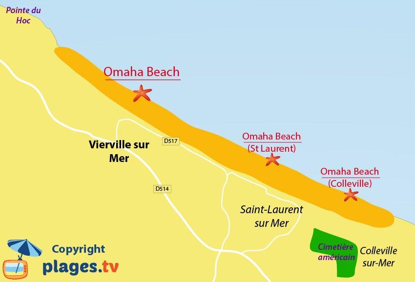 Plan des plages de Vierville sur Mer