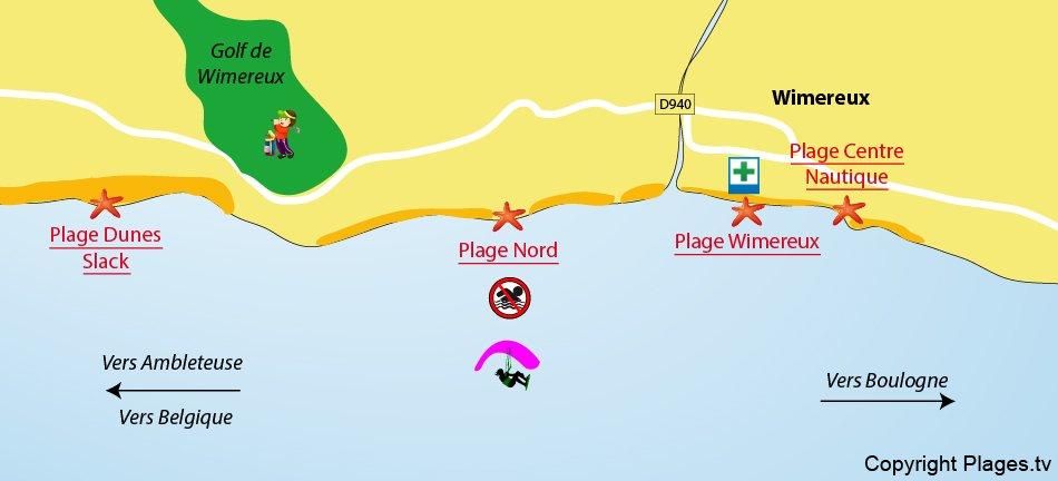 Plan des plages de Wimereux