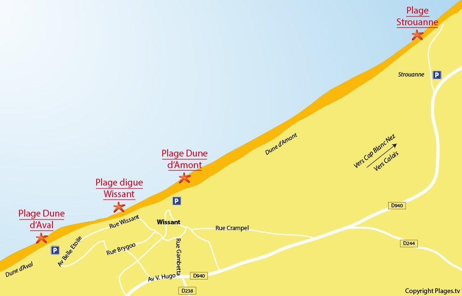 Plan des plages de Wissant dans le Nord