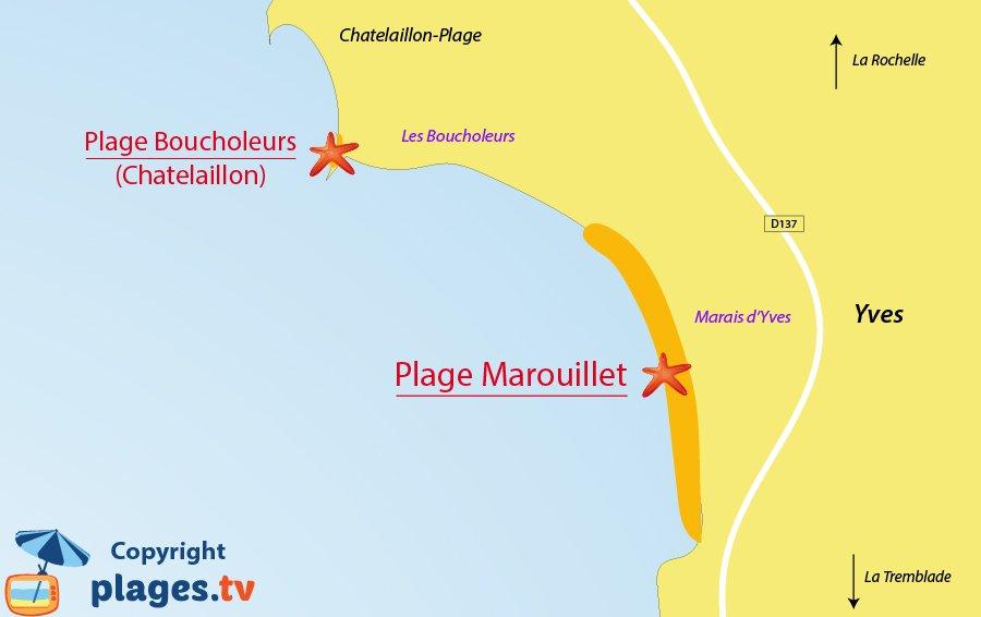 Plan des plages d'Yves en Charente Maritime