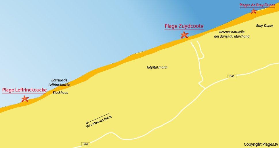 Plan des plages de Zuydcoote