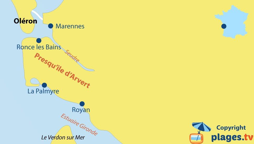Plan de la presqu'ile d'Arvert en Charente Maritime