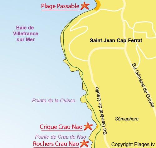 Map of Platforms of Crau de Nao in St Jean Cap Ferrat