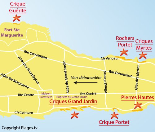 Map of Portet Rocks - Ste Marguerite - Ile de Lérins