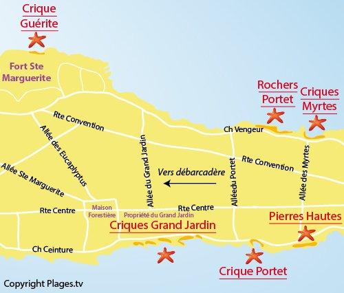 Plan des rochers de Portet - Ste Marguerite - Ile de Lérins