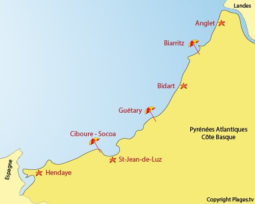 Basque France Map.Pays Basque Resorts And Top 5 Beaches In Pyrenees Atlantiques
