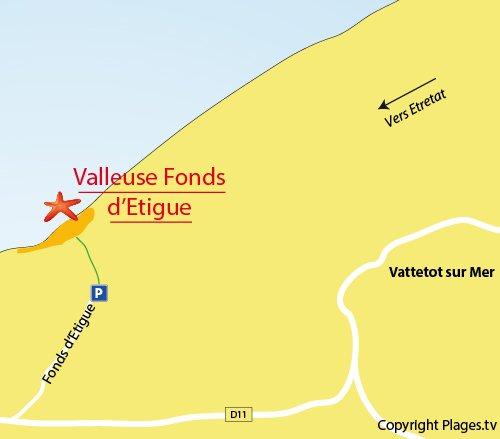 Plan de la valleuse d'Etigue à proximité d'Etretat - Les Loges