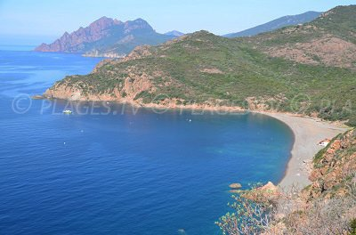 Serriera and its beach in the Porto Gulf - Corsica