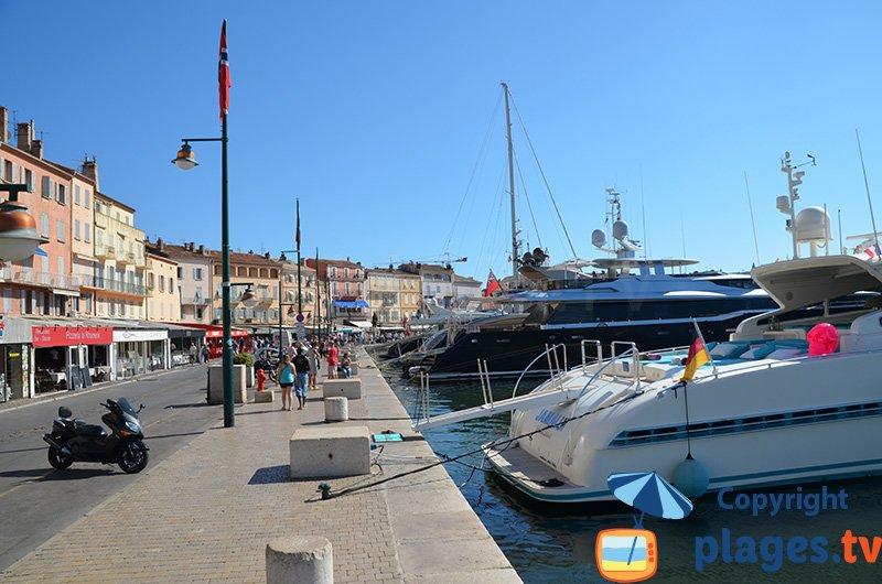 Port de St Tropez avec ses maisons provençales