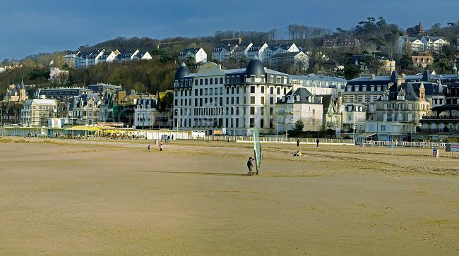 Large beach in Trouville - France
