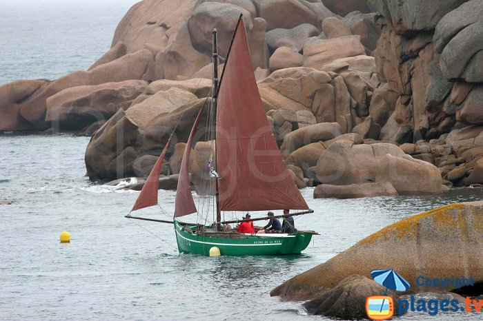 Old fashion sailing boat in Brittany - Pink Granite Coast
