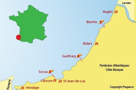 Villes et stations de la Côte Basque française